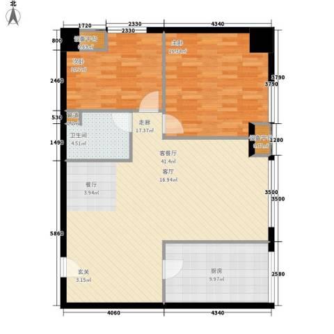 橙悦城2室1厅1卫1厨94.00㎡户型图