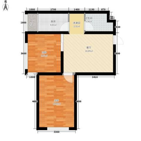 北方尚品2室1厅1卫1厨72.00㎡户型图