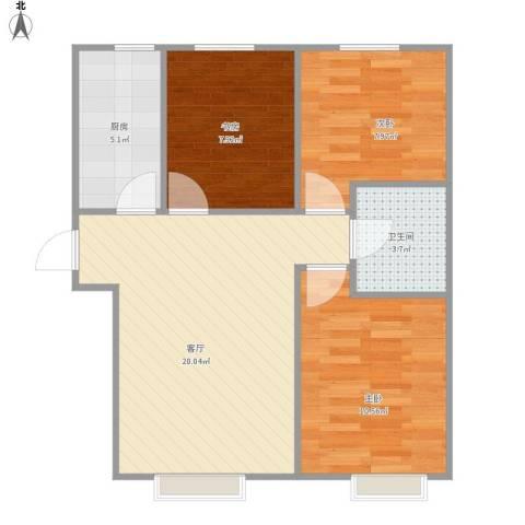 中国铁建·青秀尚城3室1厅1卫1厨75.00㎡户型图