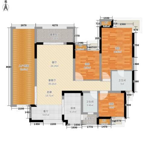 中海翠屏湾3室1厅2卫1厨114.00㎡户型图