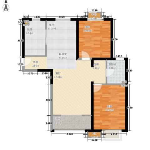 西郡帝景2室0厅1卫1厨86.77㎡户型图