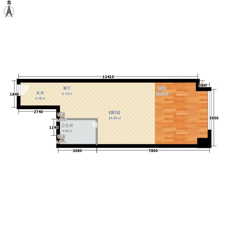 橙悦城51.85㎡公寓I面积5185m户型