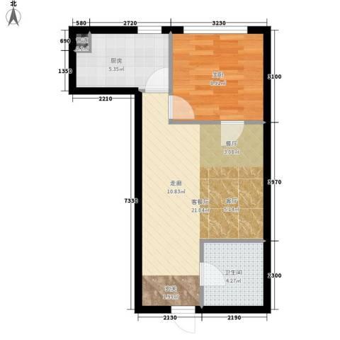 红人公馆1室1厅1卫1厨56.00㎡户型图