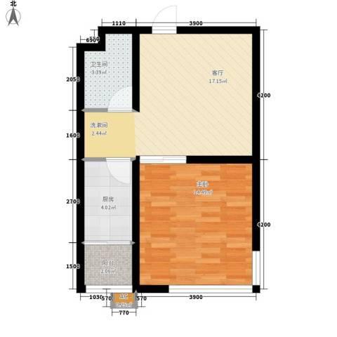 北方尚品1室1厅1卫1厨61.00㎡户型图