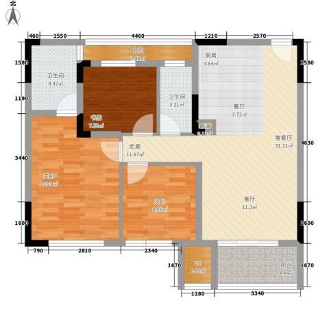 仁恒G53公寓3室1厅2卫0厨100.00㎡户型图
