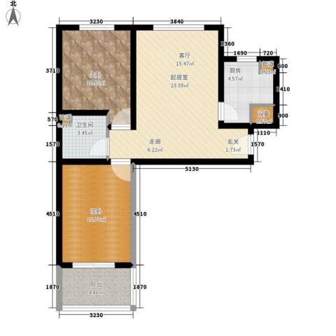 天域嘉园2室0厅1卫1厨86.00㎡户型图