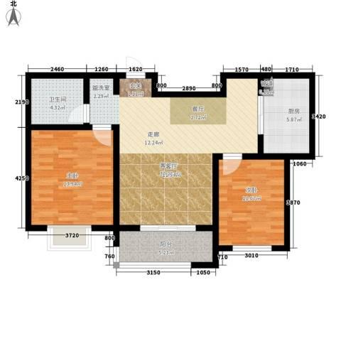 红人公馆2室1厅1卫1厨81.00㎡户型图