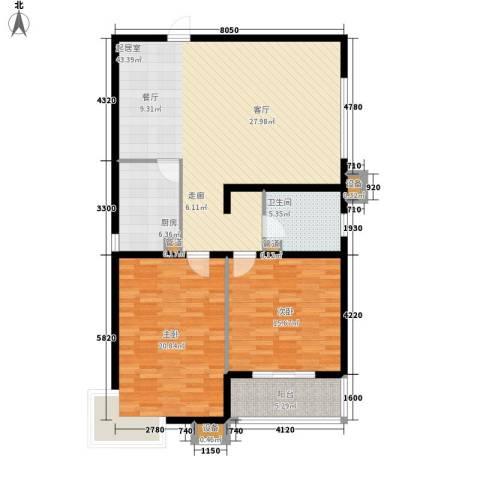 上城浩林园2室0厅1卫1厨110.00㎡户型图