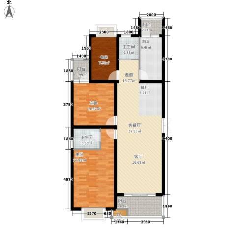 华阳华景阁3室1厅2卫1厨135.00㎡户型图