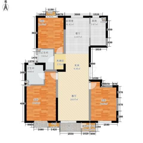 西郡帝景3室0厅2卫1厨147.00㎡户型图