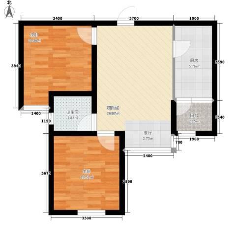 上城浩林园2室0厅1卫1厨73.00㎡户型图