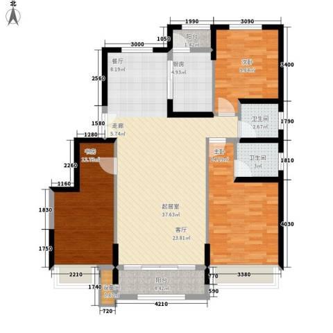 中铁诺德名苑3室0厅2卫1厨128.00㎡户型图