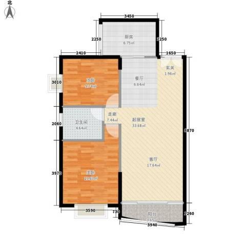 青洲豪庭2室0厅1卫1厨95.00㎡户型图