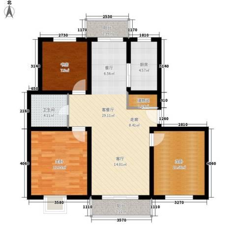 省地堪局宿舍3室1厅1卫1厨88.00㎡户型图