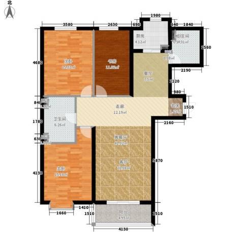 红人公馆3室1厅2卫1厨145.00㎡户型图