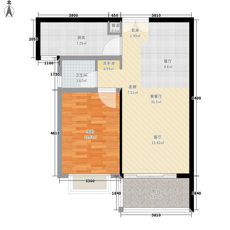 山水云亭61.00㎡J4户型1室2厅