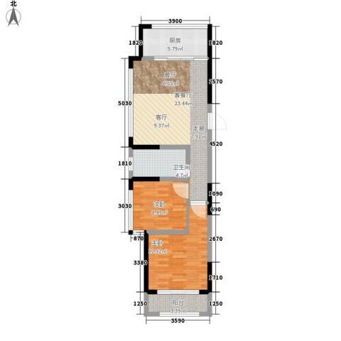 建东・悦海湾2室1厅1卫1厨83.00㎡户型图