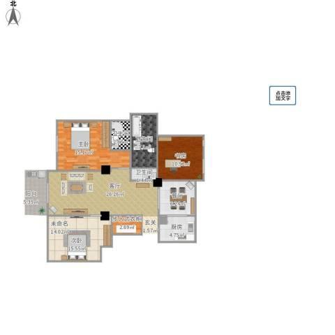 碧水莲晴三期2室1厅3卫1厨89.00㎡户型图