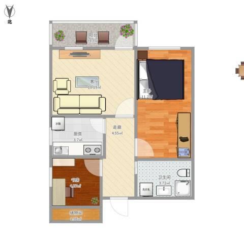 龙翔路小区2室1厅1卫1厨59.00㎡户型图