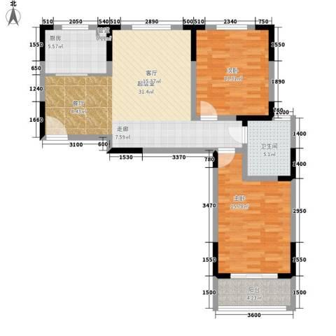 浦洲花园2室0厅1卫1厨108.00㎡户型图