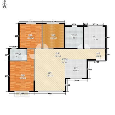 青洲豪庭3室0厅2卫1厨134.00㎡户型图