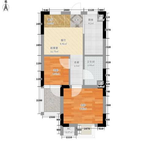 万汇新城经济适用房2室0厅1卫1厨55.00㎡户型图