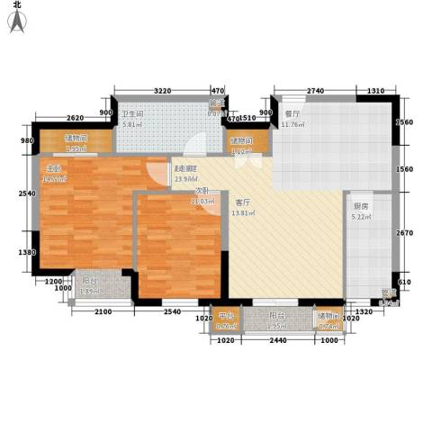 西郡帝景2室0厅1卫1厨81.19㎡户型图
