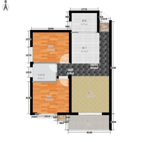 风华四季园2室0厅1卫1厨83.00㎡户型图
