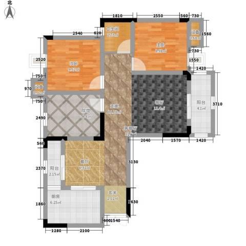 鲁能领秀城2室1厅1卫1厨78.00㎡户型图