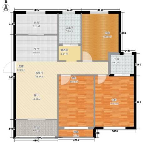 嘉悦景苑3室1厅2卫1厨126.00㎡户型图