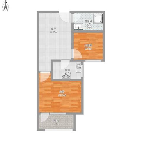 广厦聚隆广场2室1厅1卫1厨65.00㎡户型图