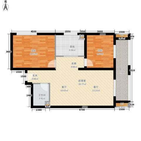 幸福里2室0厅1卫1厨83.46㎡户型图