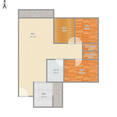 美丽家园3室1厅1卫1厨110.00㎡户型图