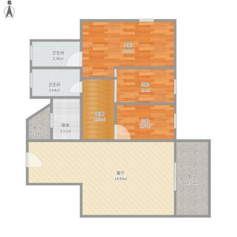 香晖园3室1厅2卫1厨98.00㎡户型图