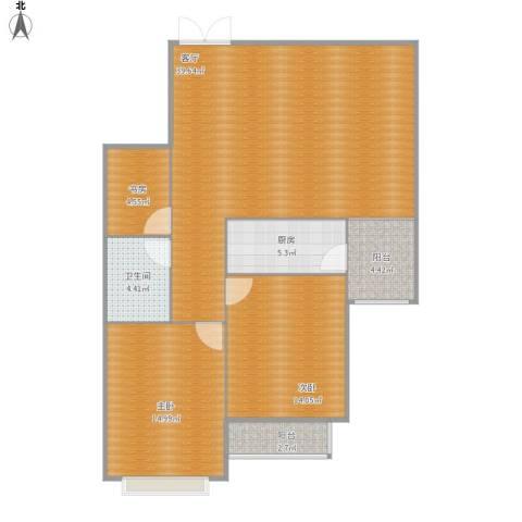 中水金海嘉苑3室1厅1卫1厨118.00㎡户型图