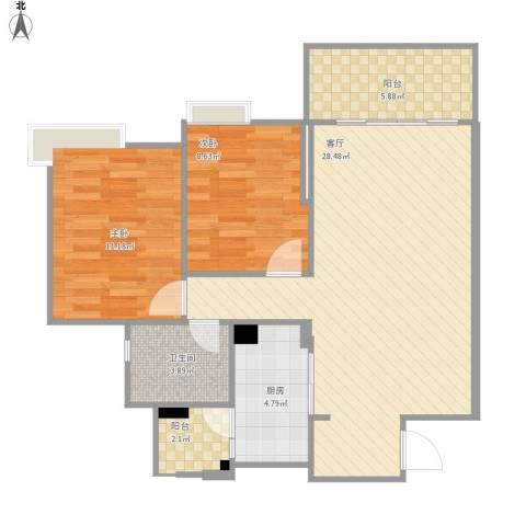 广州新塘新世界花园2室1厅1卫1厨89.00㎡户型图
