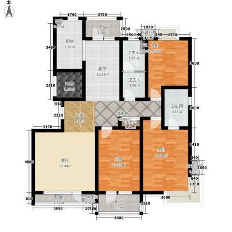 湖畔佳苑3室1厅3卫1厨154.00㎡户型图