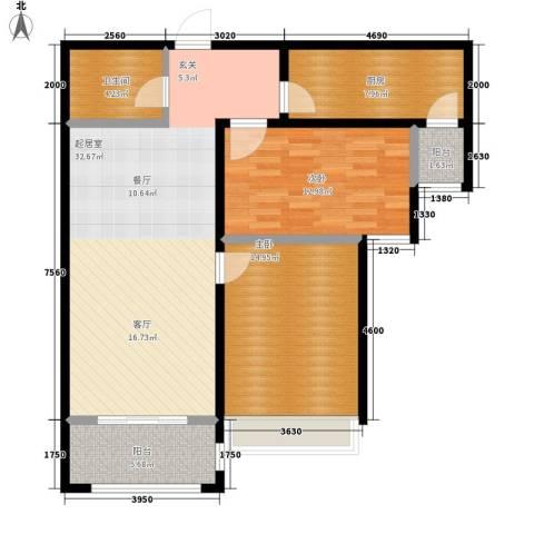 世纪名园2室0厅1卫1厨91.00㎡户型图