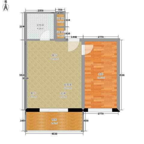 大众花园1室0厅1卫1厨57.00㎡户型图