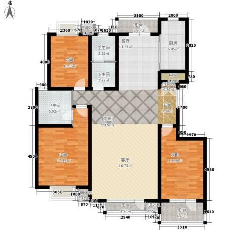 湖畔佳苑3室1厅3卫1厨162.00㎡户型图