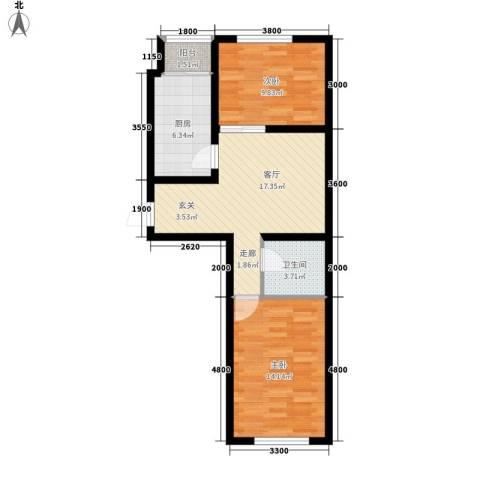 北方尚品2室1厅1卫1厨61.00㎡户型图