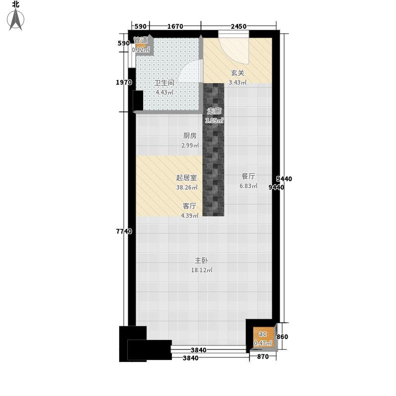 国瑞城50.80㎡B4-5户型1室2厅