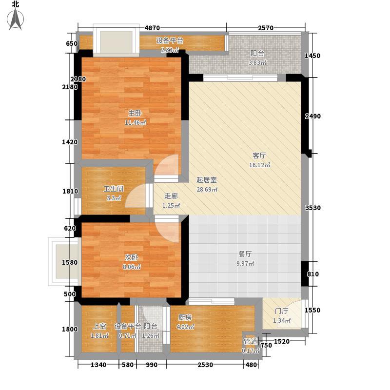 金沙柏林郡83.00㎡一期3栋2单元面积8300m户型