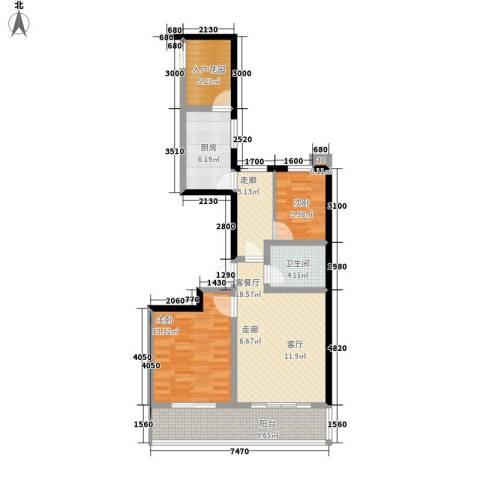 和谐家园2室1厅1卫1厨97.00㎡户型图