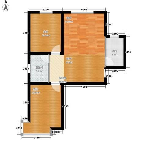 绿朗时光2室0厅1卫1厨84.00㎡户型图