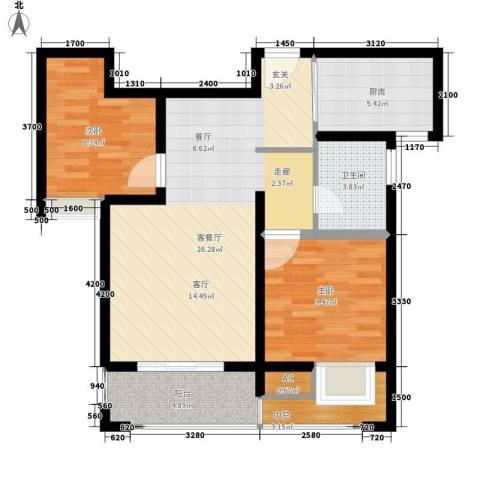 江佑铂庭2室1厅1卫1厨79.00㎡户型图