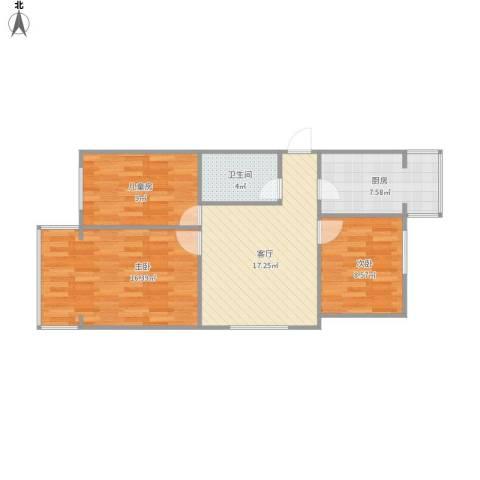 修造厂三居室3室1厅1卫1厨85.00㎡户型图