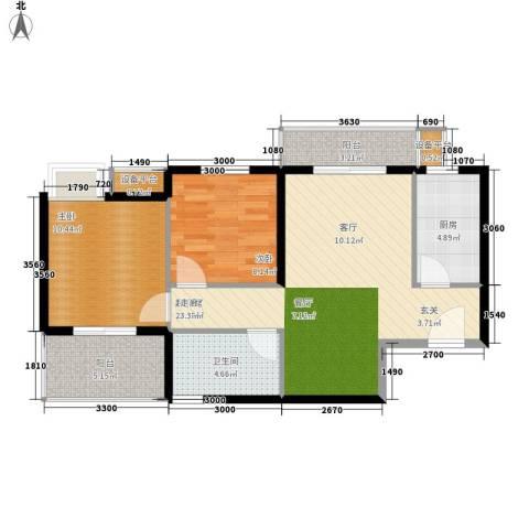 水墨丹青2室0厅1卫1厨88.00㎡户型图