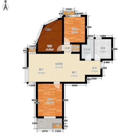 嘉实蓝岸3室0厅1卫1厨111.00㎡户型图
