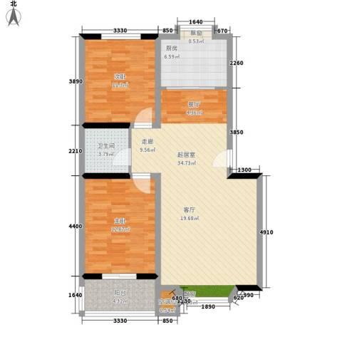 华夏家园B区2室0厅1卫1厨86.00㎡户型图